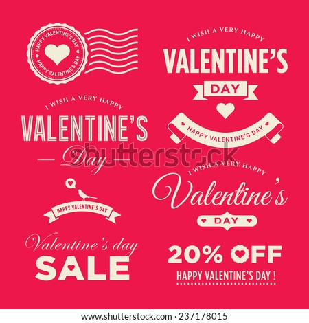 Valentines day set of label, badges, stamp and design elements - stock vector