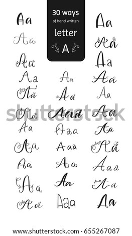 30 Various A Letters Collection Vector Hand Written Graphic Wide Lettering Elements Set