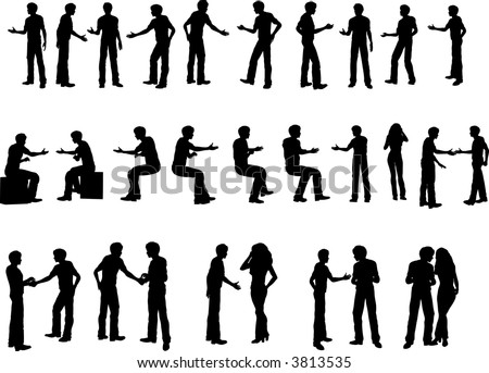 25 Various business handshakes, sitting down standing and 2 people shaking each others hands - stock vector