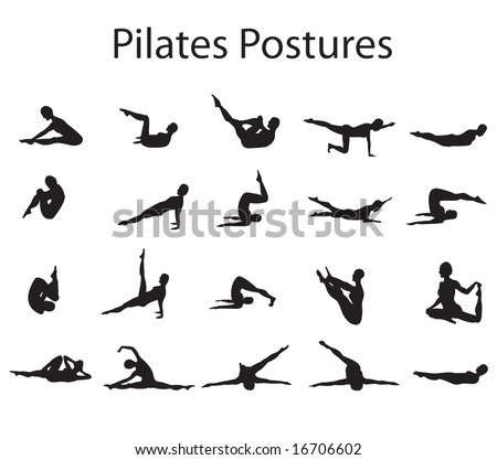 20 Various Pilates Postures Positions Silhouette Vector Illustration - stock vector