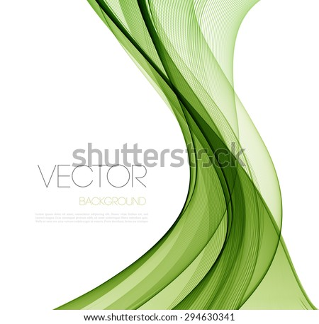 Vector Abstract  Green curved lines background. Template brochure design.  - stock vector
