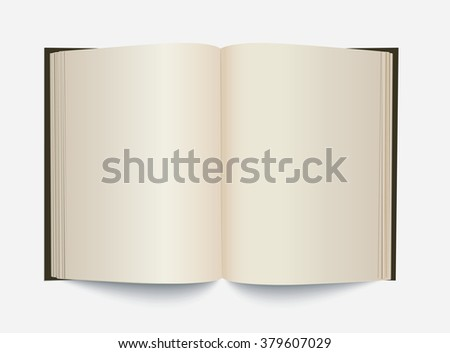 Vector blank white opened book.
