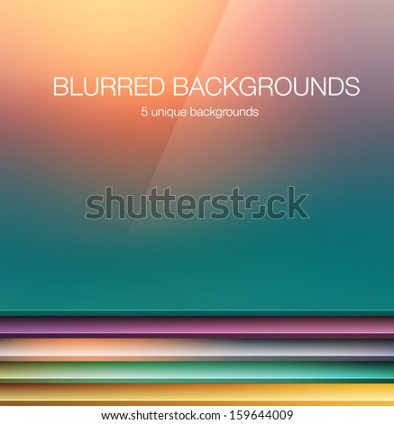 5 vector blurred backgrounds - stock vector