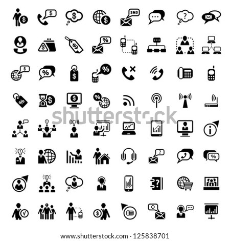 64 Vector Business And Financial Icons Set for web and mobile. All elements are grouped. - stock vector