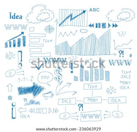 Vector business doodles - seamless pattern with blue element on a school notebook background - stock vector