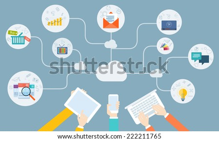 vector business on line network on device application - stock vector