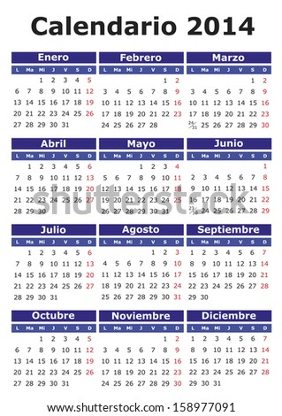 2014 vector calendar in Spanish. Easy for edit and apply