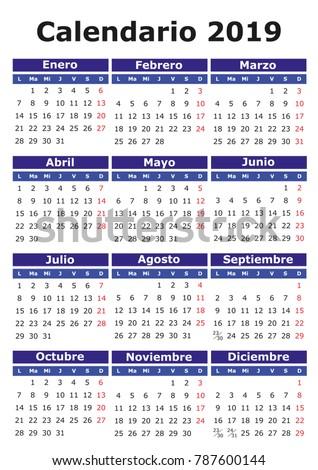 2019 vector calendar spanish easy edit vector de stock for Que fase lunar hay hoy