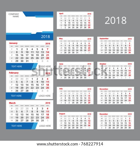 2018 Vector Calendar Template Three Month Stock Vector Hd Royalty