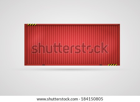 Vector Cargo Red Container. Separated layers. Easy editable. CMYK color mode. - stock vector