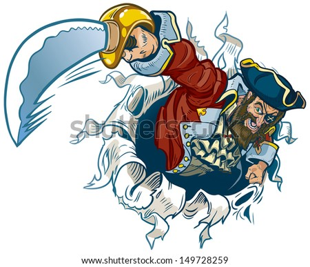 Vector cartoon clip art illustration of a pirate ripping out of the background, brandishing a cutlass or sword. Makes a great mascot!
