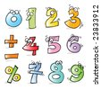vector cartoon funny numbers, hand-drawing style, grouped and layered for easy editing - stock vector