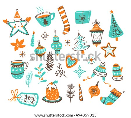 Vector cartoon hand-drawn collection of traditional Christmas set, isolated on white background - toy balls, bow, gingerbread, tree, stars and candles.