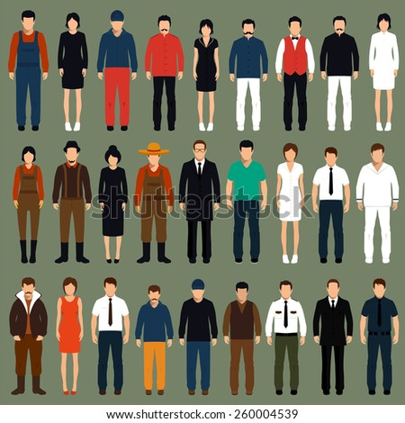 vector cartoon people, man, woman flat characters illustration,  - stock vector