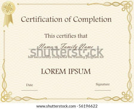 vector certificate of completion template