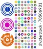 105 Vector Circle Elements with splat and grunge effects - stock vector