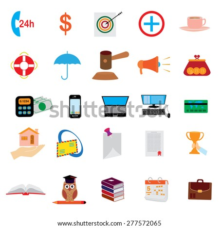 Vector collection of colorful  business and finance icons. Design elements for mobile and web applications.