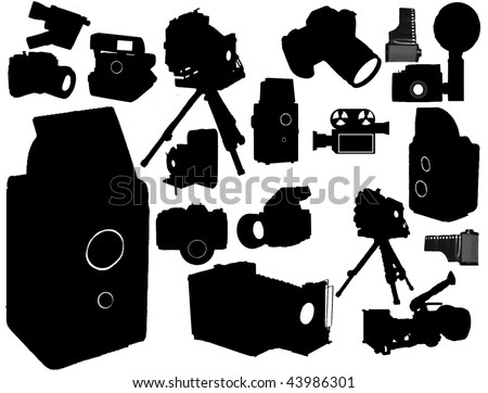 Vector collection of isolated film camera - stock vector