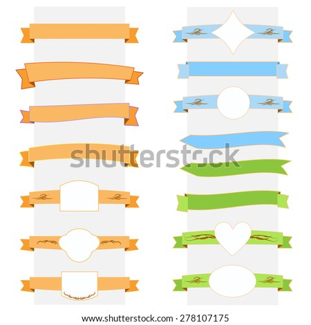 Vector color illustration ribbon banner set - stock vector