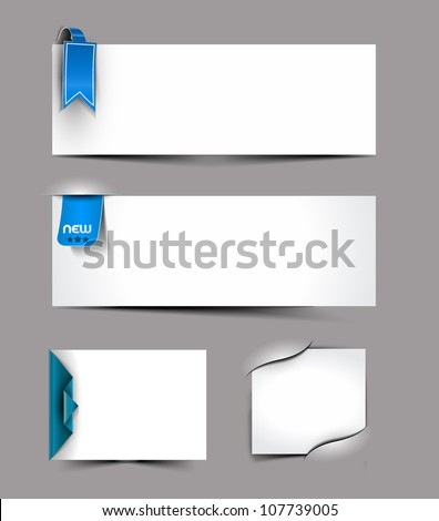Vector corner ribbons blank cards set design - stock vector