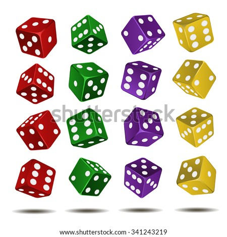 16 vector dice yellow, green, red, violet color on a white background - stock vector