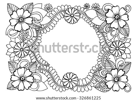 Vector doodle flowers in black and white - stock vector