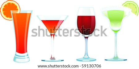 4 vector drinks isolated on white - stock vector