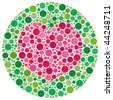 (Vector - eps10) Heart shape made of circles, inspired by colour blind tests. This vector version has the heart shape and main circle templates as a hidden layer. (A jpg is also available) - stock photo