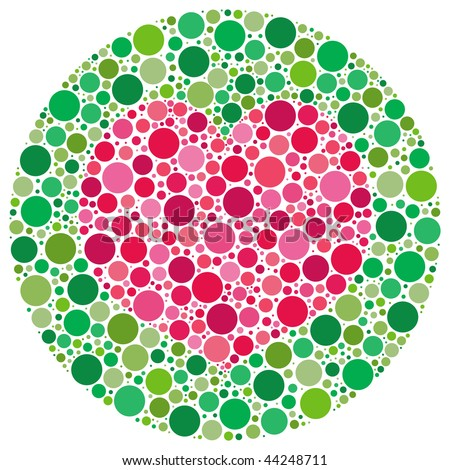 (Vector - eps10) Heart shape made of circles, inspired by colour blind tests. This vector version has the heart shape and main circle templates as a hidden layer. (A jpg is also available)