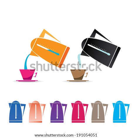 vector flat style electric kettle icon set. - stock vector