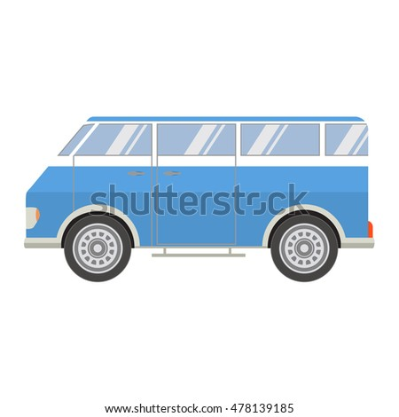 Vector flat with the image of the tourist van.Vector flat a retro a van for travel. Vintage bus. An element for design of the website of travel, delivery of goods, an infographics element.