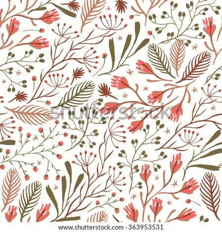 vector floral seamless pattern with blooming summer herbs - stock vector