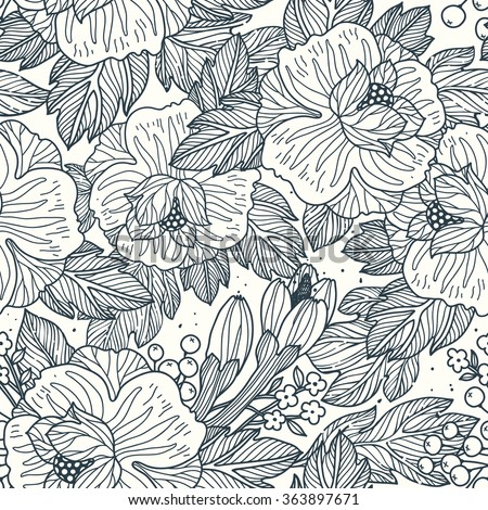 vector floral seamless pattern with linear hand drawn roses, leaves and berries