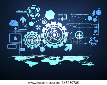 vector global network technology background concept - stock vector