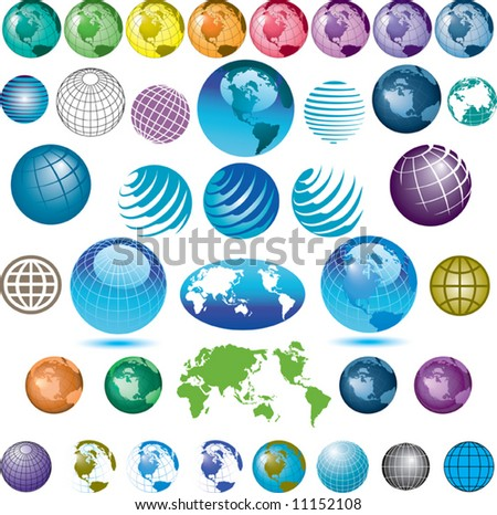 38 vector globes to choose from - stock vector