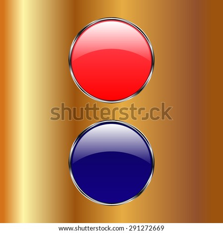 Vector glossy button icon, samples on a Gold background - stock vector