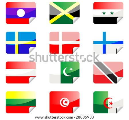 Vector. Glossy stickers with national flags isolated on white - stock vector