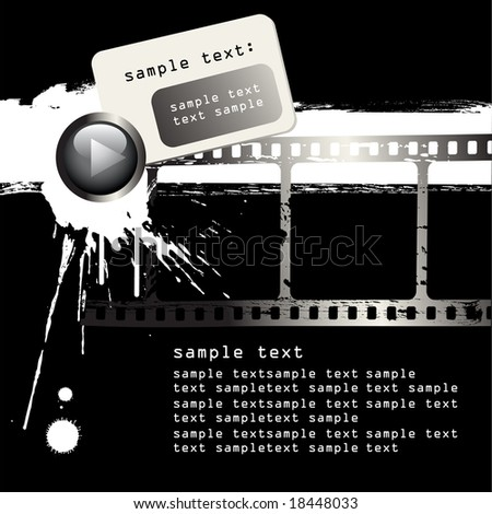 vector grunge film strip and black paint on white background - stock vector