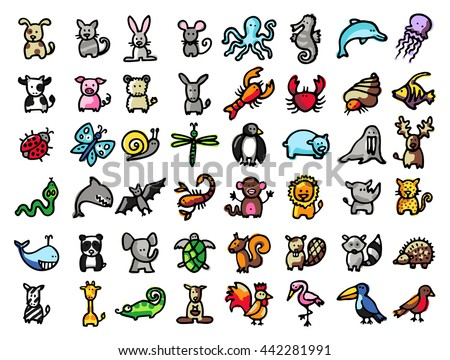48 vector hand drawn animals, black line and colors - stock vector