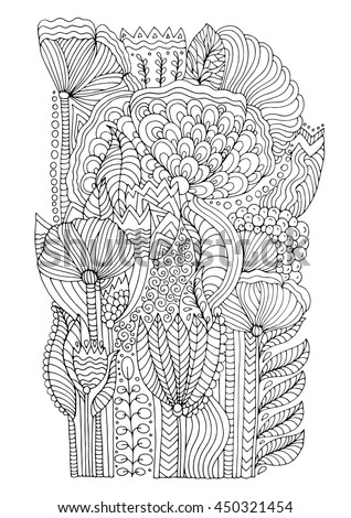 Vector Hand Drawn Doodle Pattern Of Unrealistic Flowers In Magic Garden Page For Coloring Book