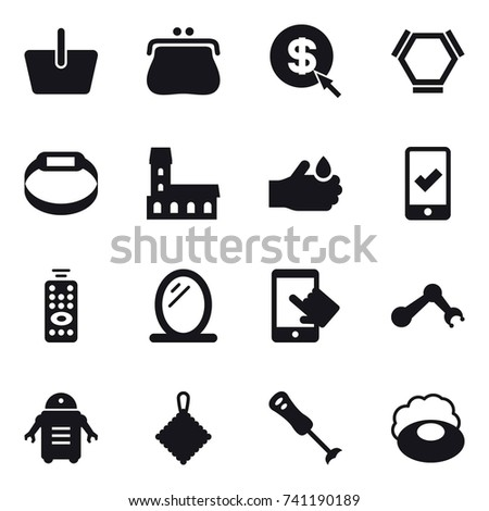16 vector icon set : basket, purse, dollar arrow, hex molecule, smart bracelet, mansion, mobile checking, remote control, mirror, rag, soap