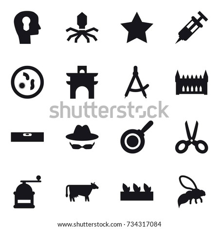 16 Vector Icon Set Bulb Head Virus Star Arch Draw Compass
