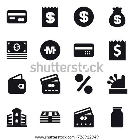 16 vector icon set : card, receipt, dollar, money bag, money, crypto currency, credit card, wallet, percent, cashbox, building