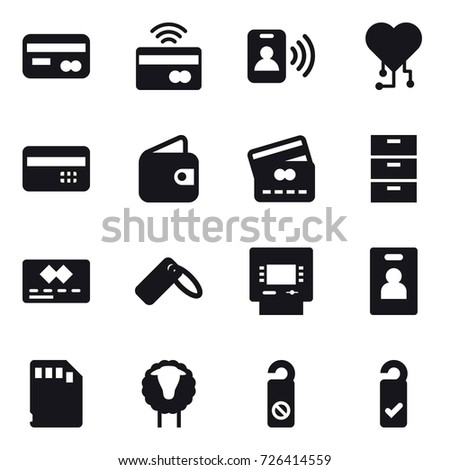 16 vector icon set : card, tap to pay, pass card, cardio chip, credit card, wallet, atm, identity card, sheep, do not distrub, please clean