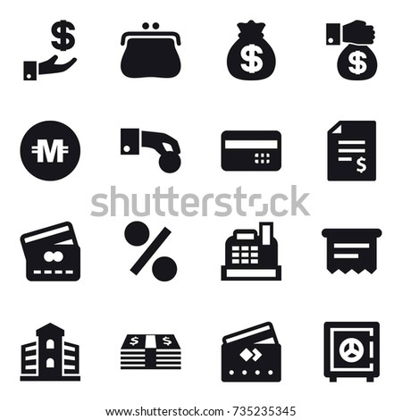 16 vector icon set : investment, purse, money bag, money gift, crypto currency, hand coin, credit card, account balance, percent, cashbox, atm receipt, building, safe