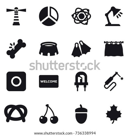 16 vector icon set lighthouse diagram stock vector 736338994 16 vector icon set lighthouse diagram atom table lamp stadium ccuart Choice Image
