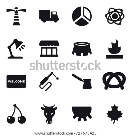 16 vector icon set lighthouse truck stock vector 728425540 16 vector icon set lighthouse truck diagram atom table lamp ccuart Choice Image