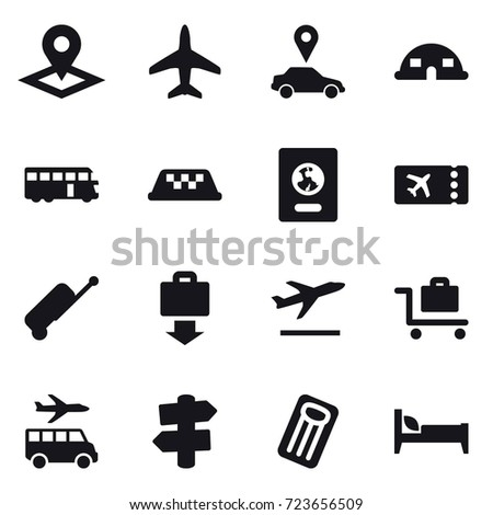 16 vector icon set : pointer, plane, car pointer, dome house, bus, taxi, passport, ticket, suitcase, baggage get, departure, baggage trolley, transfer, signpost, inflatable mattress, bed