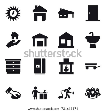 16 vector icon set : sun power, home, house with garage, door, real estate, chest of drawers, fridge, fireplace, trailer, wiping, kitchen cleaning, vacuum cleaner, outsource