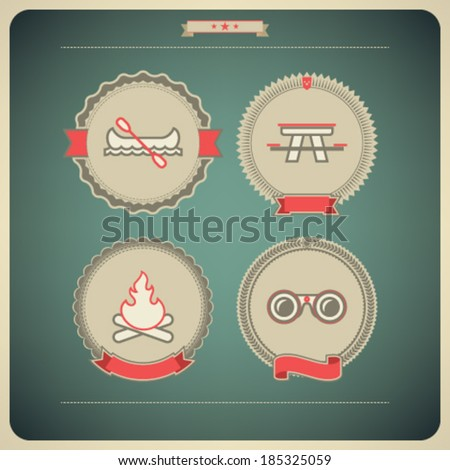4 vector icons related to ships, boats and other objects/symbols in relation to boat swimming, pictured here from left to right, top to bottom: Canoe with paddle, Picnic table, Camp fire, Binoculars. - stock vector